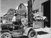 A forklift truck being used during World War II. Photo from the National Archives