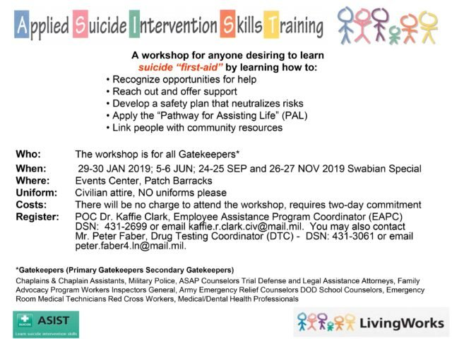 ASIST workshops coming up in 2019