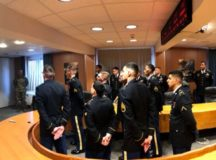 Soldiers and NCOs wait to receive recognition from IMCOM-E, Dec. 13. Photo by 1st Sgt. Anthony Hopkins, HHC USAG Stuttgart