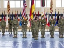 Command Sgt. Maj. Samara Pitre takes the reins as IMCOM-Europe's senior enlisted leader during a change-of-responsibility ceremony in Sembach, Feb. 21, .