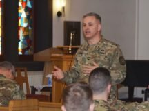 Col. Neal Corson, commander, USAG Stuttgart, answers questions posed during the Feb. 26 town hall.