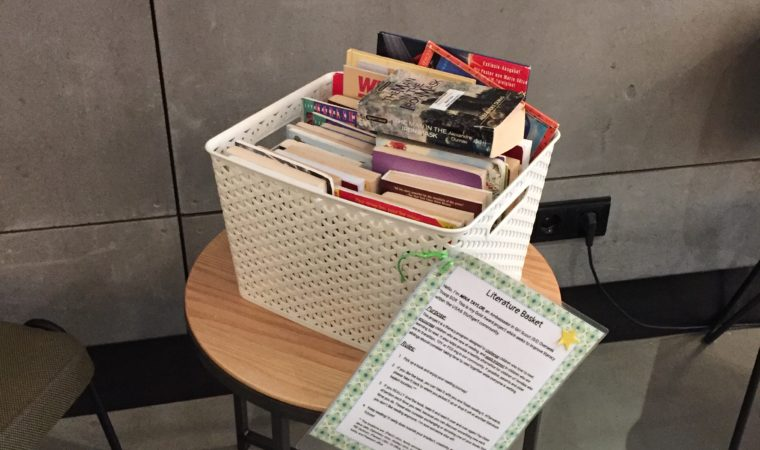 One of the 20 literacy baskets to be found around the garrison. Photo by Holly  DeCarlo-White, USAG Stuttgart Public Affairs