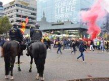 German police on horseback watch over a protest in downtown Stuttgart. (Photo by Rick Scavetta, U.S. Army Garrison Stuttgart)