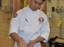 Staff Sgt. Marc Susa, U.S. Army Culinary Arts Team (USACAT) captain, prepares braised fennel as practice for the upcoming World Culinary Olympics in Stuttgart, Germany. (U.S. Army photo by Sarah Hauck) (Photo Credit: Sarah Hauck)