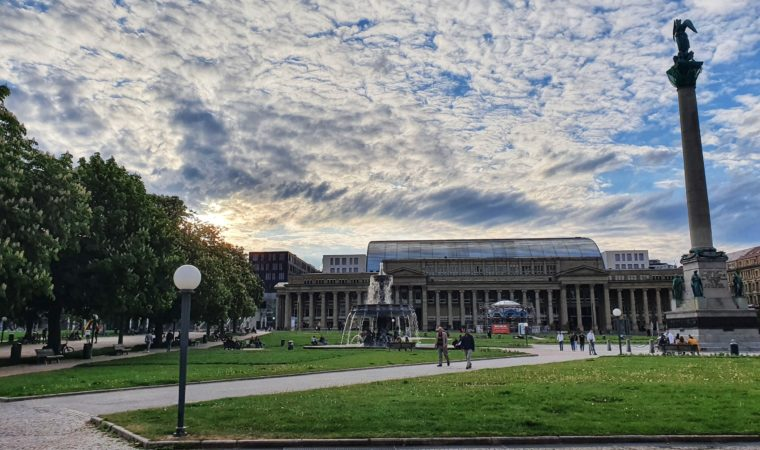 A free space on the grass is usually much harder to find on Stuttgart's Schlossplatz, seen here on May 3, 2020. Photo by Bardia Khajenoori, USAG Stuttgart Public Affairs.