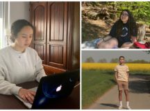 Clockwise: London Massey stays up to date on her online schoolwork. Olivia Tabaka and Kenneth Colin Roedl spend more time outdoors to combat isolation during COVID-19.