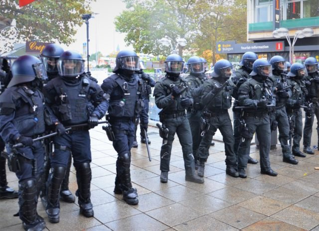 German riot police in riot gear