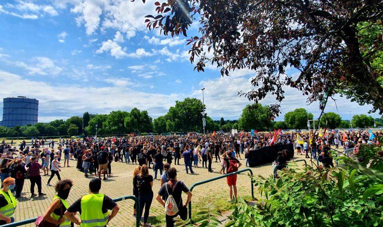 Demonstrators protest at the Cannstatter Wasen fest grounds in Stuttgart. Photo by Bardia Khajenoori, USAG Stuttgart Public Affairs.