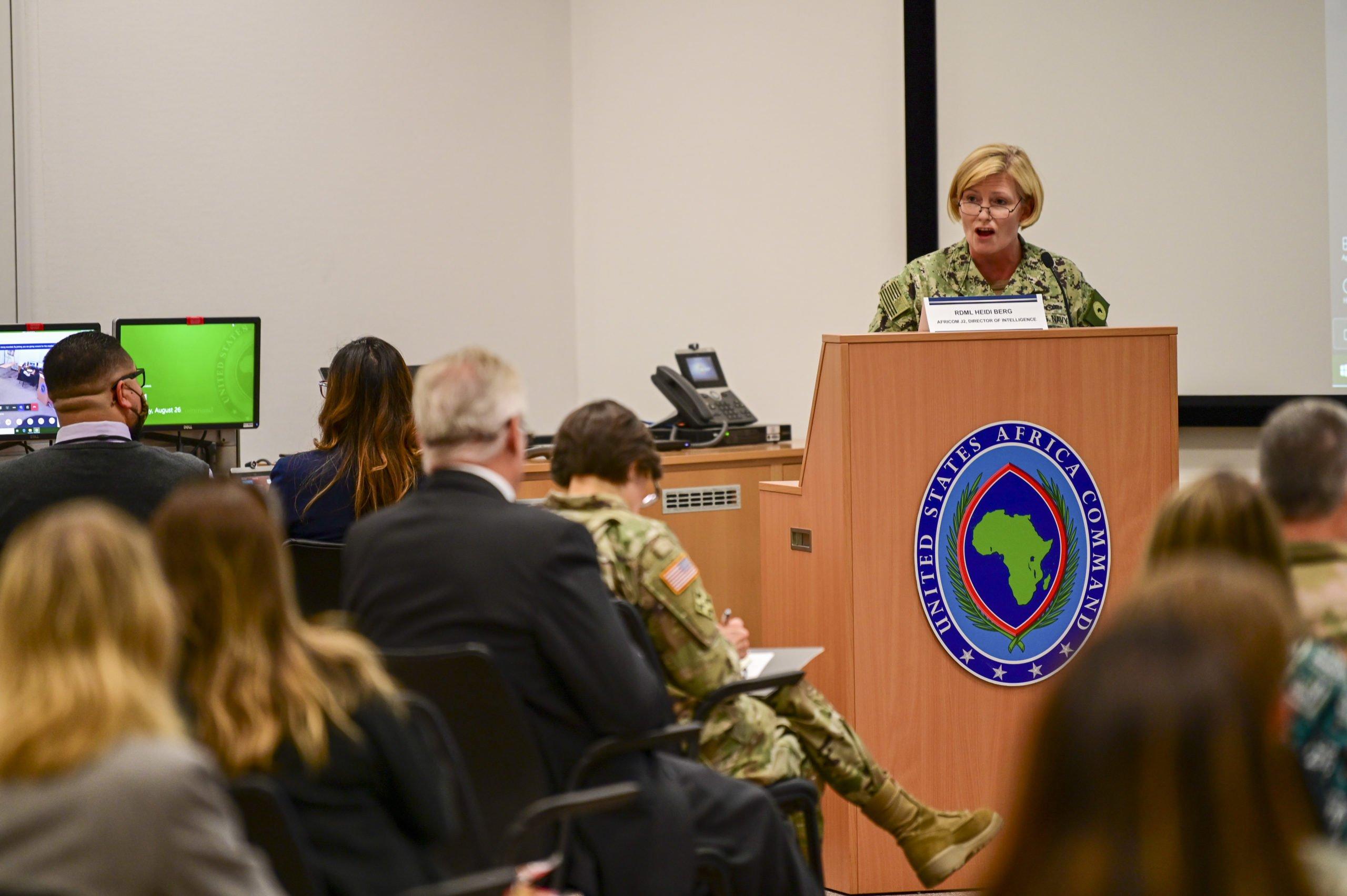 Rear Adm. Heidi Berg, director of intelligence, delivered the keynote address.
