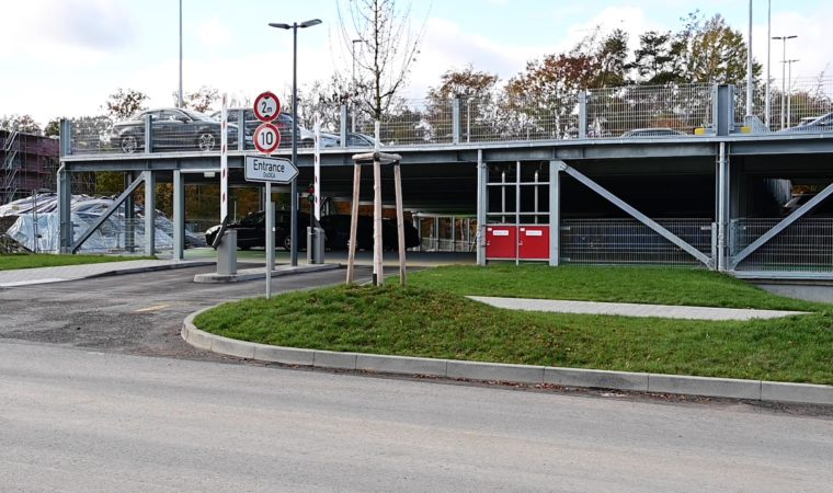 """Drivers can utilise the entrance marked """"Entrance DoDEA"""" to access the lower levels."""