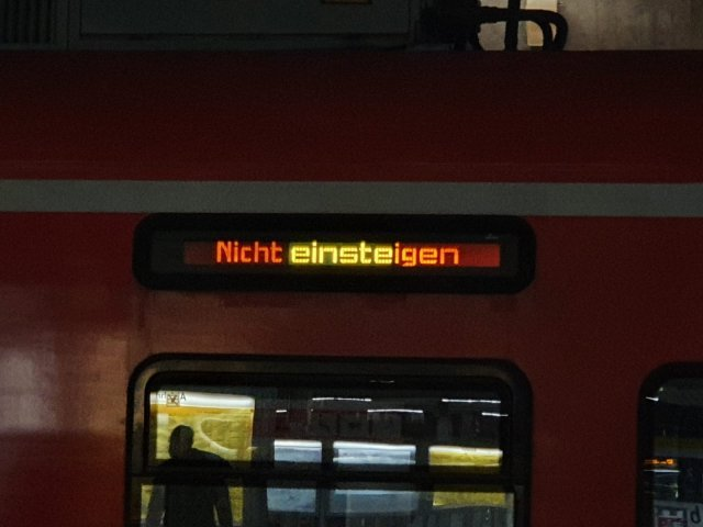 A no boarding sign on a german train