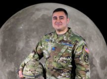 Space Force Capt. Santiago Duque-Ayala posed for a photo after being inducted into Space Force in Stuttgart, Germany, Feb. 19. Photo illustration by Cpt. Timothy Vaughan, SOCAFRICA PAO.