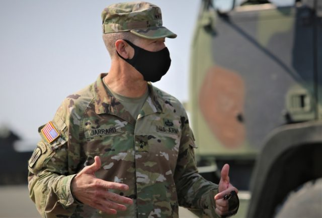 An Army Major General addresses troops