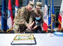 USAG Stuttgart Garrison Commander, Col. Matt Ziglar, cuts a cake for the Army's birthday on June 14