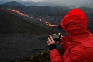 Capturing an image of an active volcano.