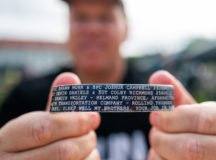 Lt. Col. Mike Harrell displays a bracelet with the names of the four Soldiers he lost overseas.